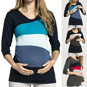 51810d892cb Image is loading Women-Pregnancy-Nursing-Tops-Patchwork-Blouse-Long-Sleeve-