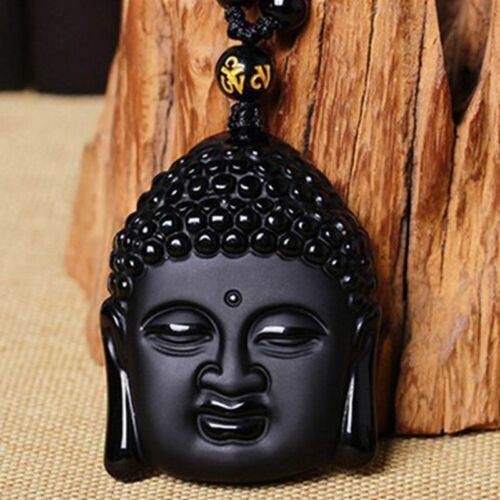 Pendant Beads Necklac Natural Black Obsidian Hand-Carved Lucky Buddha Amulet