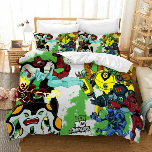 Ben 10 3PCS Bedding Set Boys Quilt Duvet Cover Pillowcases Comforter Cover Gifts