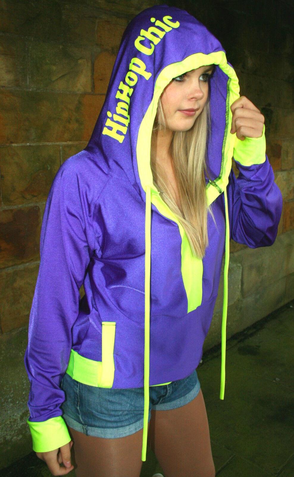 ANY COLOURS Funki-B printed branded neon hoody street rave cyber top clubwear