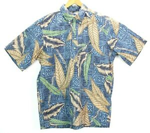 Reyn-Spooner-Mens-Large-Pullover-Polo-Button-Down-Hawaiian-Camp-Shirt-Palm-Tiki