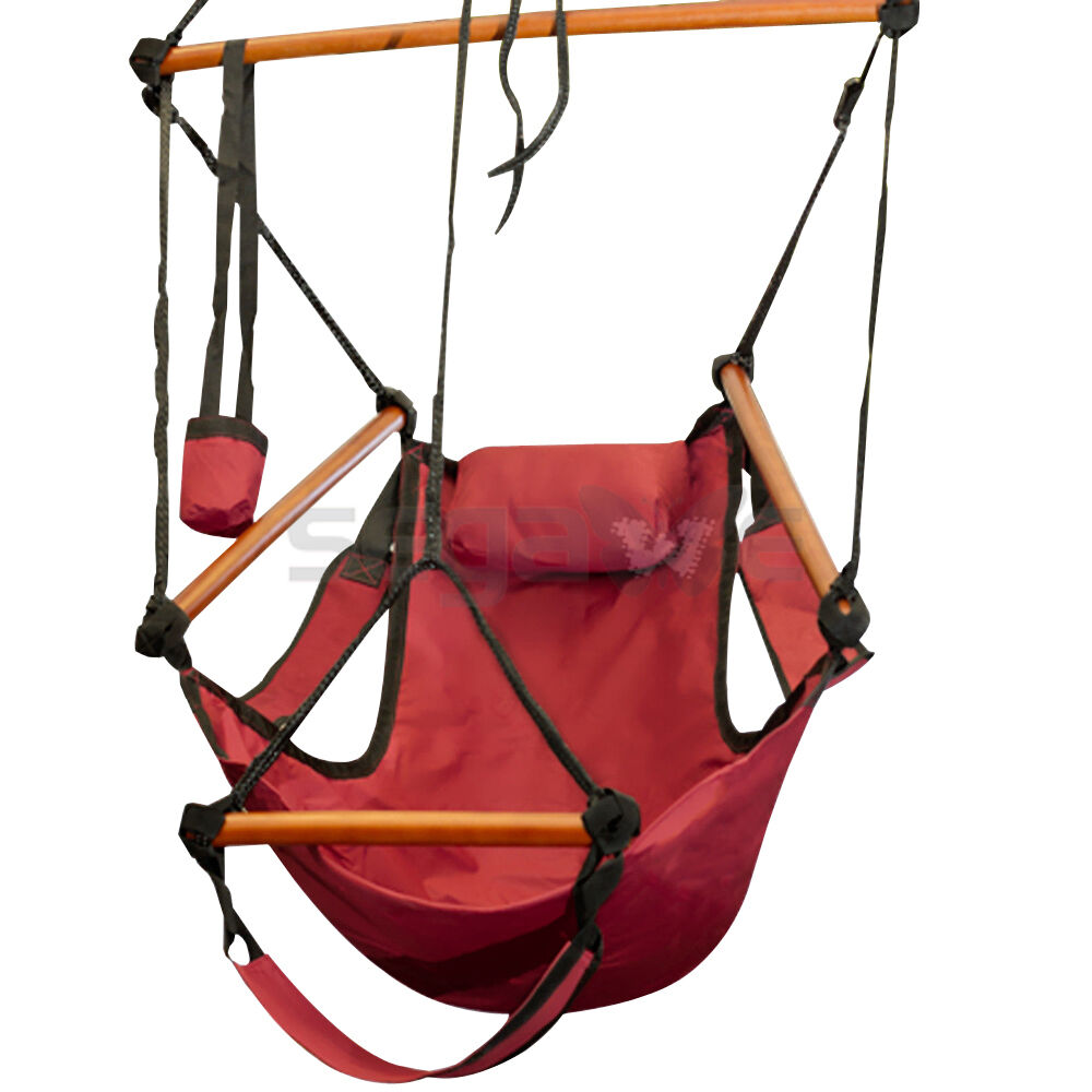 Outdoor cotton striped hanging hammock rope chair porch for Hanging couch swing