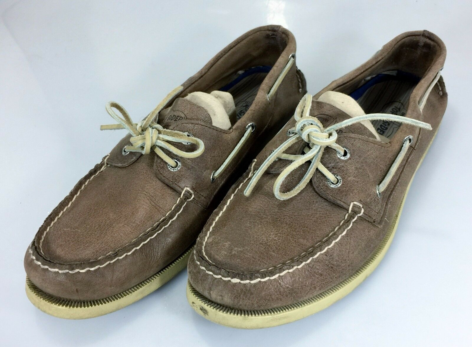 Sperry Top-Siders 13M Mens Boat Deck shoes Brown Leather 47 EU