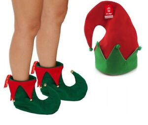 CHRISTMAS-SANTA-ELF-HAT-AND-BOOTS-WITH-BELLS-HELPER-XMAS-FANCY-DRESS-ACCESSORY