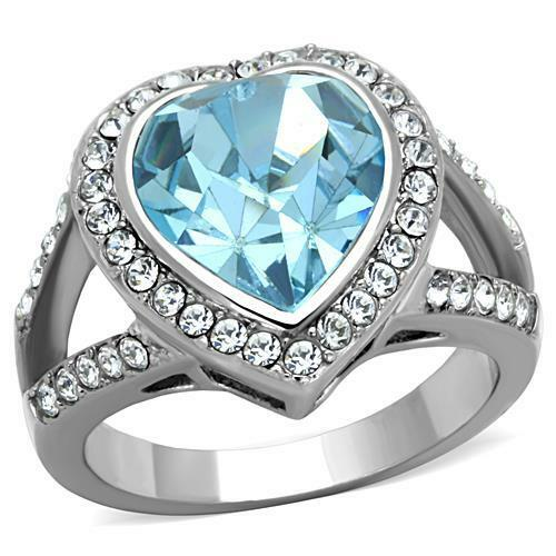 Aquamarine Heart Crystal Ring with Halo Split shank Stainless Steel