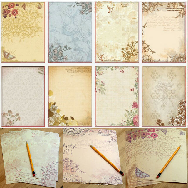 10pcsset vintage flower printing letter writing paper stationery gifts random
