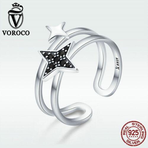 Voroco Authentique S925 Sterling Silver Star noire ouverte Anneau Double Hoop Bijoux