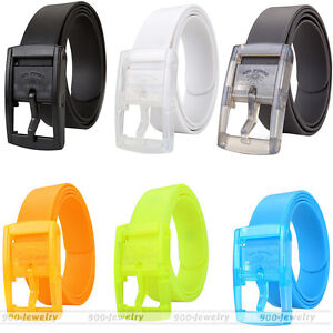 Men Women Candy Plain Silicone Rubber Leather Belt Plastic Buckle Waistband Gift