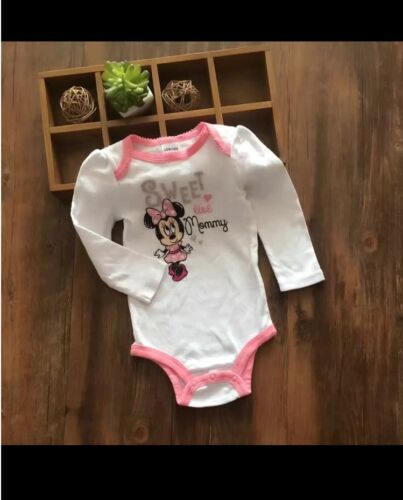 Licensed Minnie Mouse Baby Girl Long Sleeve Bodysuit Romper size NB 0-3-6-12 mos