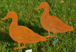 Edelrost Gartenstecker Ente Gartendeko Metall Rost