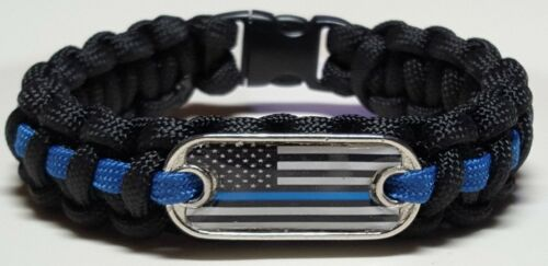 Thin Blue Line Police; USA Black /& White Flag Emblem Handmade Paracord Bracelet