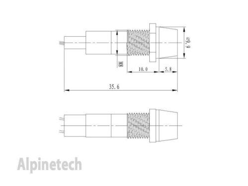 PL8-R ATI 8mm Red 12V  LED Metal Indicator Pilot Dash Light Lamp Wire Leads