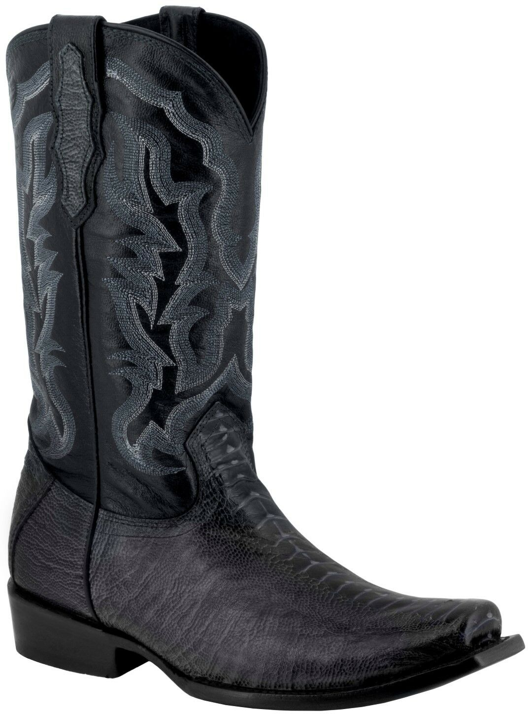Mens Black Ostrich Foot Pattern Leather Western Cowboy Boots Square Toe