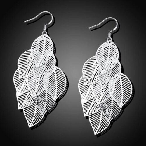 Sterling Silver 925 Multiple 9 Leaf Earrings Cut Out Cluster Drop Pierced NEW