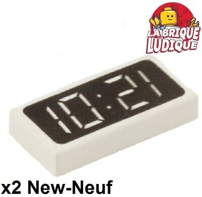 NEW 2 10:21 or 12:01 Lego TILE 1x2 Clock Digital Pattern