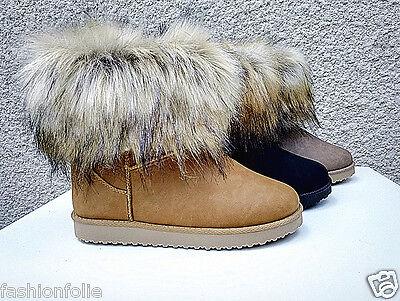 Femme Bottes Bottine Boots fur Fourré Fourrure Cheville Court Hiver Fille AB 15   eBay
