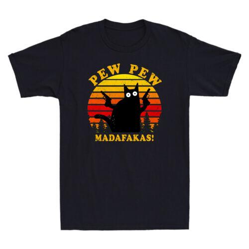 Vintage Black Cat PEW PEW madafakas Tee Funny Cat gangster avec pistolet T-Shirt