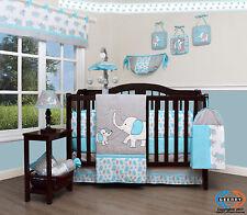 Baby Blizzard Blue Grey Elephant 13 Piece Nursery CRIB BEDDING SET