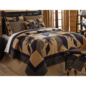 3pc DAKOTA STAR King Quilt SET Primitive Rusti​c Black//Khaki Tan Farmhouse VHC