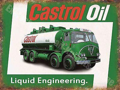 Vintage Garage, 65 Castrol Motor Oil Truck Old Advertising Medium Metal Tin Sign
