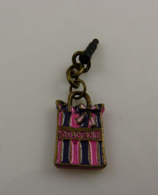 shopper shopping bag pink cell phone or fits Ipad charm ear cap dust plug