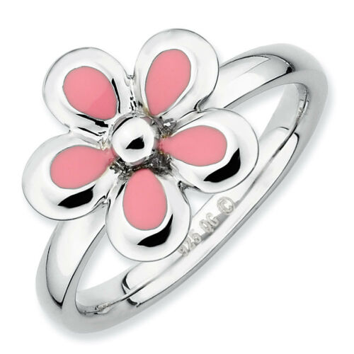 Silver Stackable Ring 2.25 mm Pink Enameled Flower Fashion Jewelry QSK121