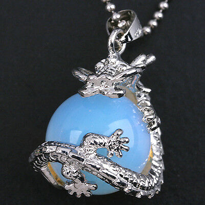 Chinese Dragon Wrap Ball Bead Charm Gemstone Natural Stone Pendants For Necklace