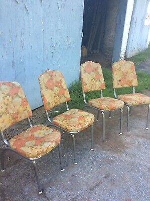 Vtg Mid Century Retro Dinette Chrome Vinyl Set Of 4 Kitchen Chairs tacky  style | eBay