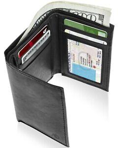 Cuir-Veritable-Slim-Trifold-Wallet-Pour-Hommes-Avec-Fenetre-D-039-IDENTIFICATION-RFID-Bloquant