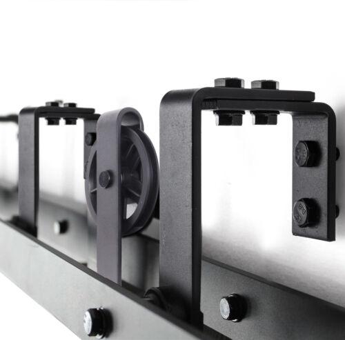 8FT//10FT Sliding Barn Wood Double//Bypass Door Hardware Track Kit Set Spoke Wheel
