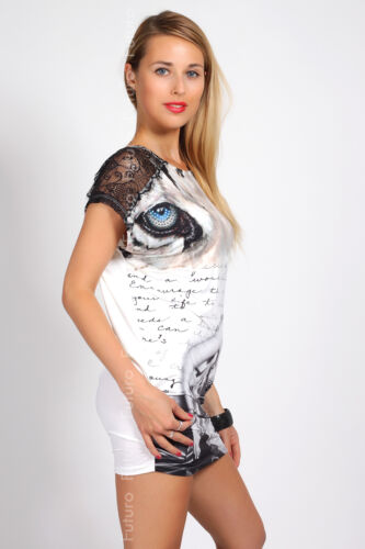 Ladies Long Top With Lace Short Sleeve Mini Dress Party Tunic Sizes 8-10 FC3050