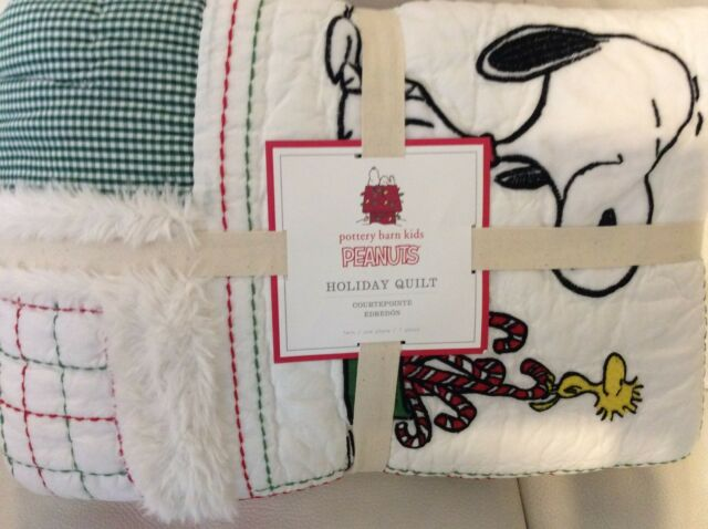 Pottery Barn Kids Peanuts Snoopy Twin Holiday Quilt
