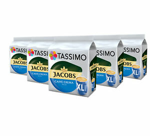 TASSIMO Jacobs Caffe Crema Mild Coffee Capsules Pods XL T-Discs 5 Pack, 80 Drink