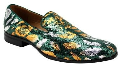 Men/'s Dress Formal Fancy Smoker Shoes AFTER MIDNIGHT Green//Gold Slip On Loafers