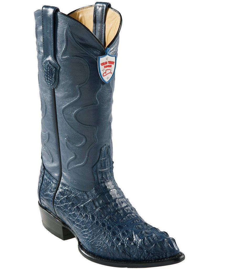 WILD WEST JEAN BLUE GENUINE CROCODILE WESTERN COWBOY BOOT J-TOE (EE)