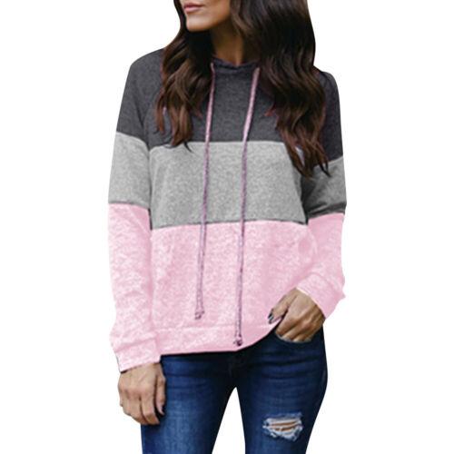 Women Ladies Loose Hoodies Sweatshirt Contrast Color Hooded Tops Pullover Shirt