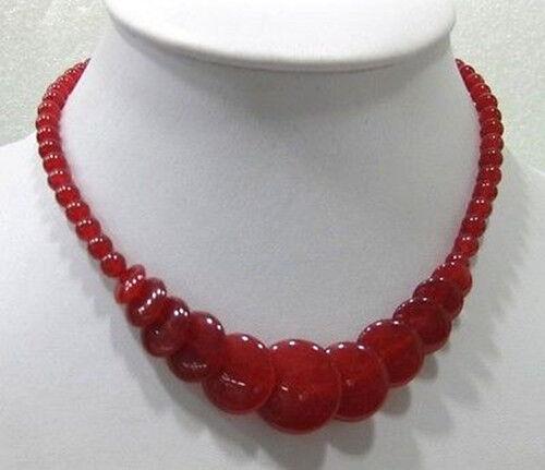 "Belle naturel rouge Jade Gemstone Round /& Coin Perles Collier 17/""AAA"