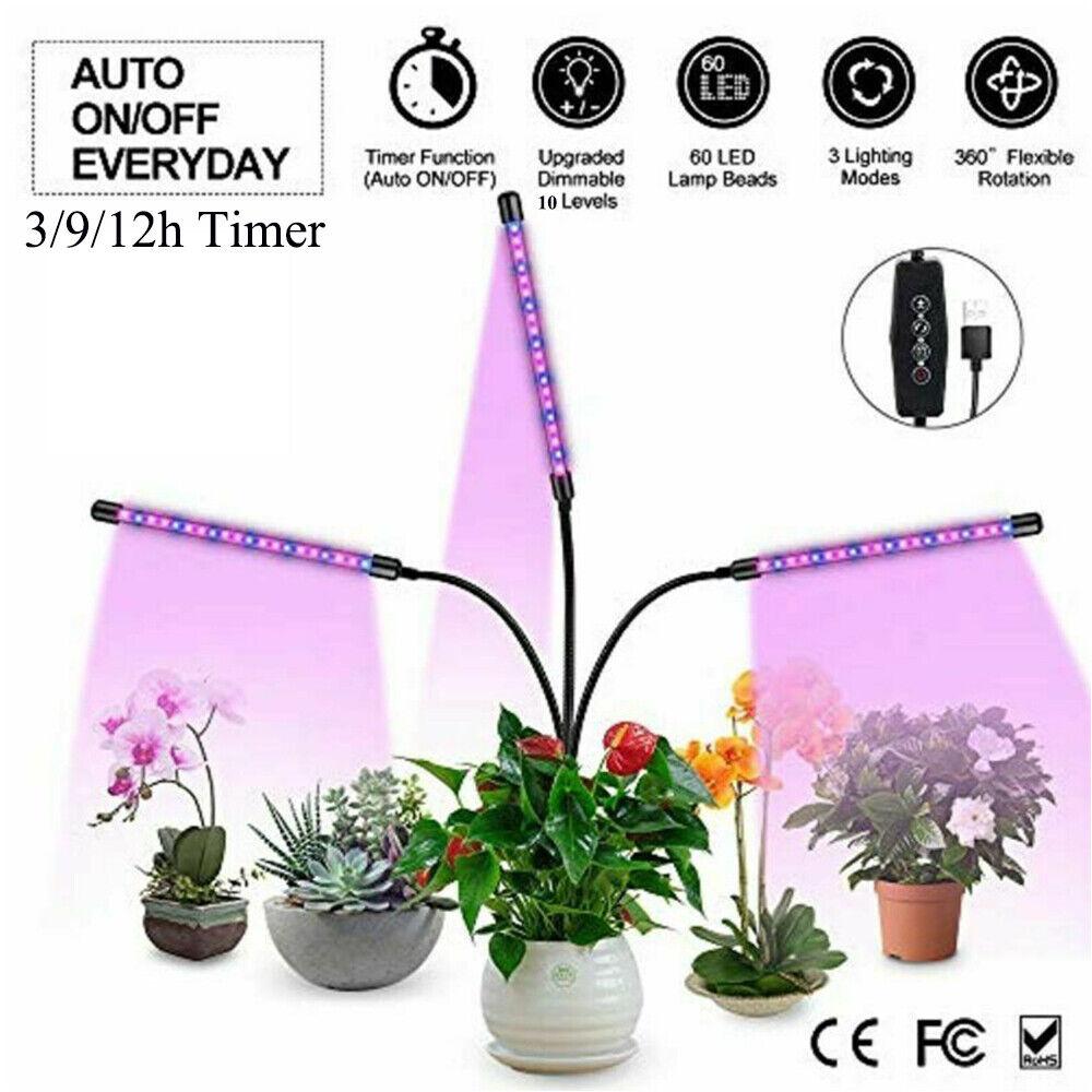 4 Head LED Grow Light UV Lamp Indoor Full Spectrum Plants Veg Flower Hydroponics