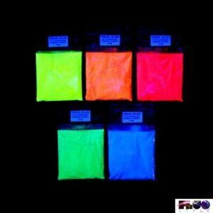 Pigmento polvere fosforescente fluorescente si illumina al buio 5 colori fluo