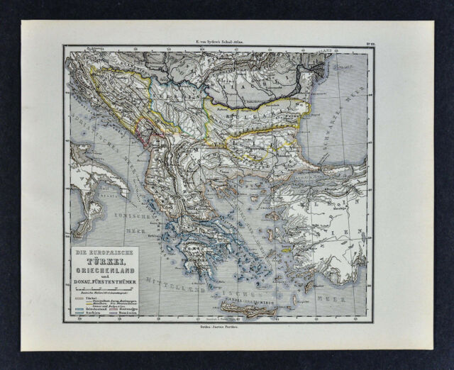 1880 Sydow Map - Greece Turkey in Europe Balkans Athens ...