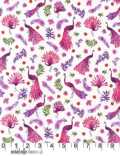 Parque De Pavo Real Púrpura y Rosa Pájaros MICHAEL MILLER TELA FQ o metros 100/% algodón