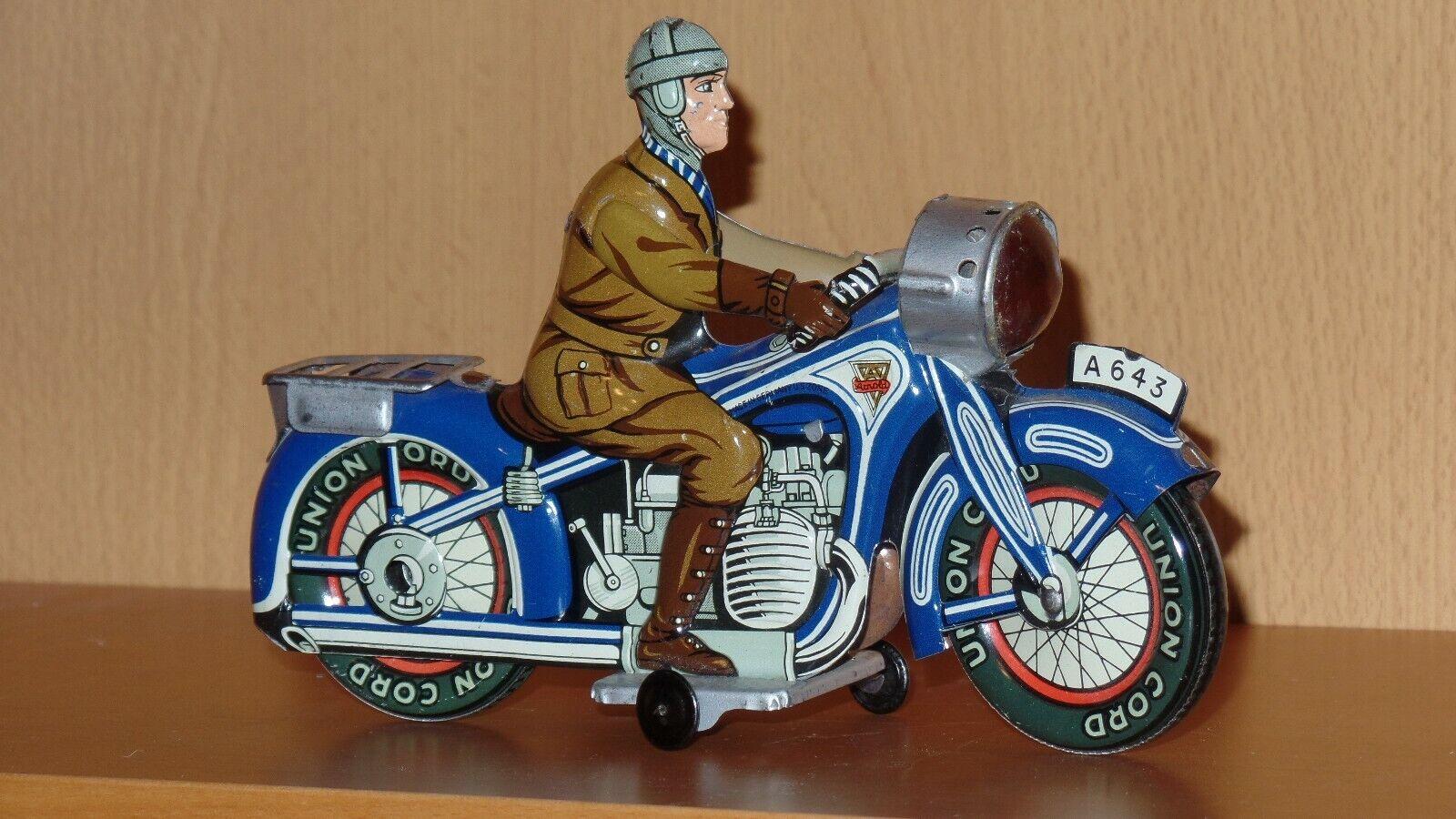 Arnold Alemán Vintage Juguete De Estaño Wind-Up Motocicleta.. muy limpio Litografía