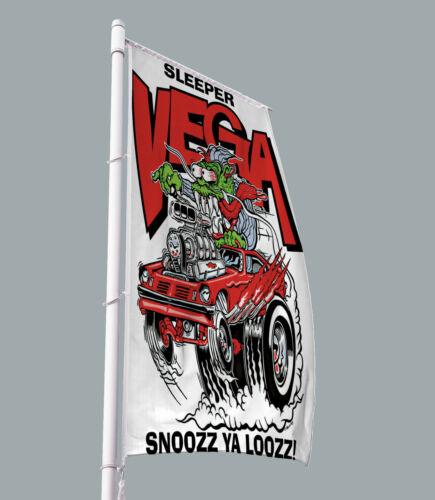 Rat Fink Red SLEEPER VEGA Car Flag Banner Artwork 3x5ft AMERICAN MUSCLE Vertical