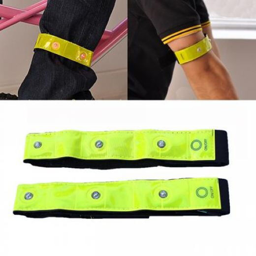 2 Piece Set Cycling Bike Bicycle Reflective Bands With 4 LED Lights Safety Run
