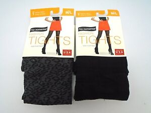 No Nonsense 2 Pair of Fashion Tights Leopard/Black Plaid Medium/Large 151F