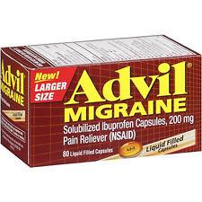 Advil Migraine Ibuprofen Pain Reliever 200mg 80 Liquid Filled Capsules. Exp 2018
