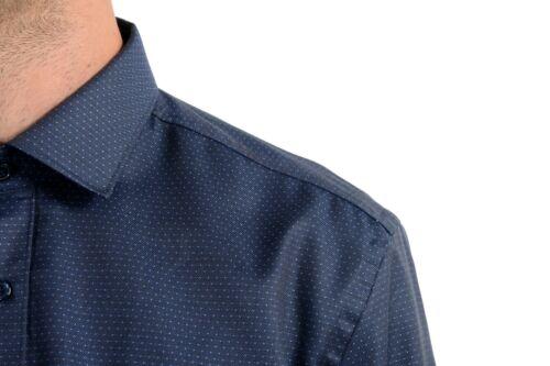 "Hugo Boss /""Isaak/"" Men/'s Blue Dotted Slim Fit Long Sleeve Dress Shirt"