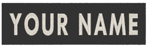 """Custom Embroidered 5/"""" x 1/"""" ID Name Tag Iron-On Patch White GLOW In DARK"""