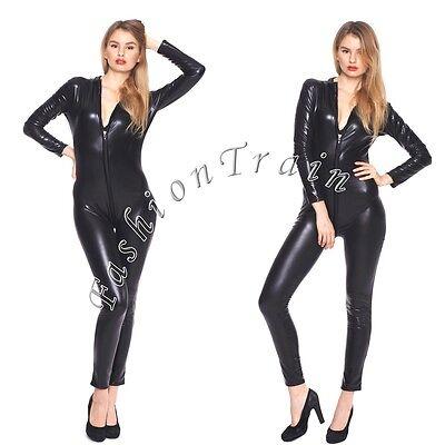 Black Sexy Womens Faux Leather Clubwear Costume Catsuit Zipper Leotard Bodysuit