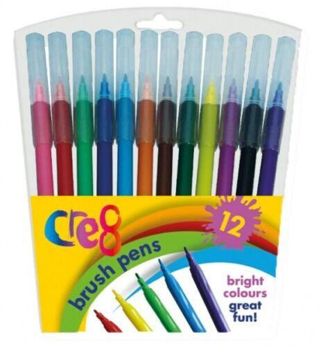 12 Brosse Fibre Stylos Marqueur non toxiques Qualité Différentes Couleurs Enfants Arts Crafts